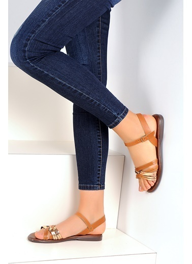 Pembe Potin A1133-19 Kadın Sandalet Taba